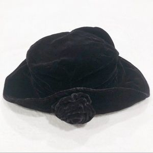 Vintage 90's Retro Velvet Flower Floppy Bucket Hat